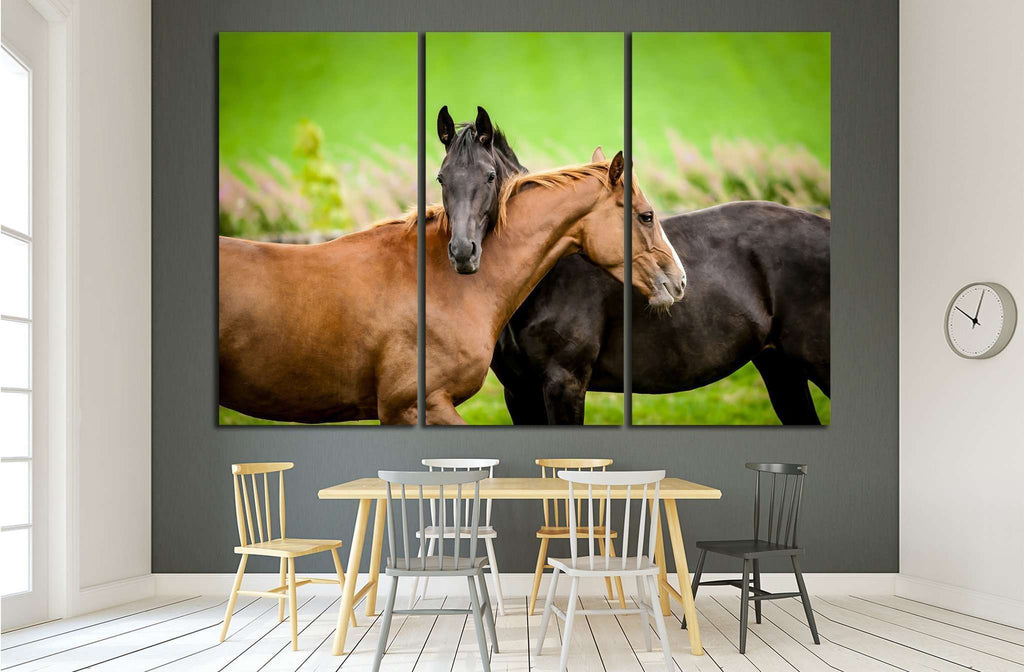 Two horses embracing in friendship №1853 Ready to Hang Canvas Print