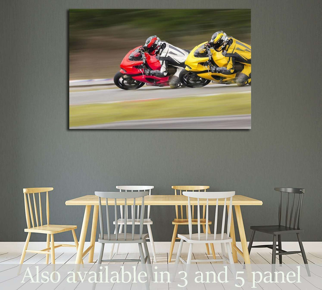 Two Motorcycles practice leaning into a fast corner on track №1867 Ready to Hang Canvas Print