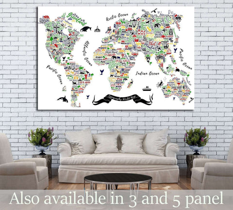 Kids world map wall art at zellart canvas arts typography world map travel poster with cities and sightseeing attractions 1930 ready to hang gumiabroncs Gallery