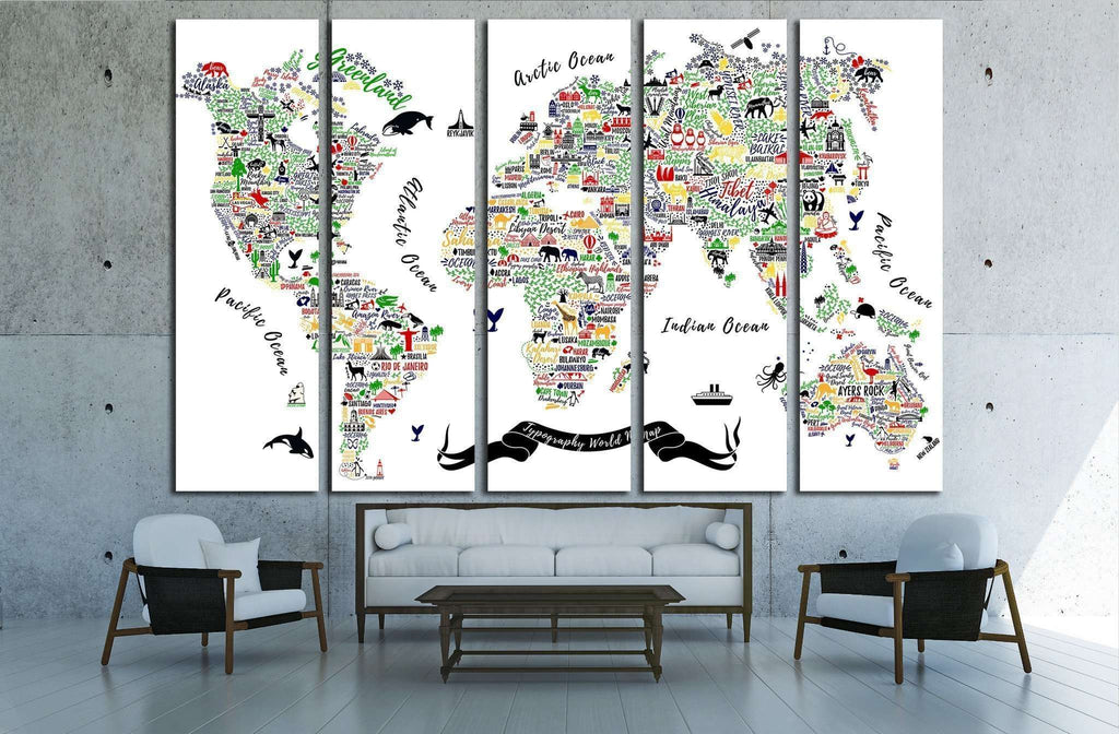 Typography World Map. Travel Poster with cities and sightseeing attractions №1930 Ready to Hang Canvas Print