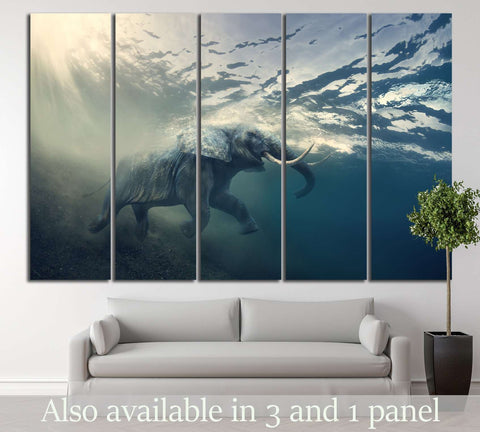 Underwater Elephant №196 Ready to Hang Canvas Print