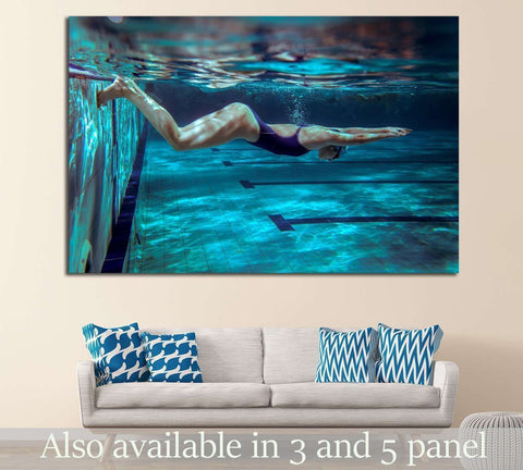 Underwater, Female swimmer in swimming pool №1379 Ready to Hang Canvas Print