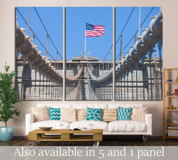 United States Flag at top of Brooklyn Bridge №1290 Ready to Hang Canvas Print