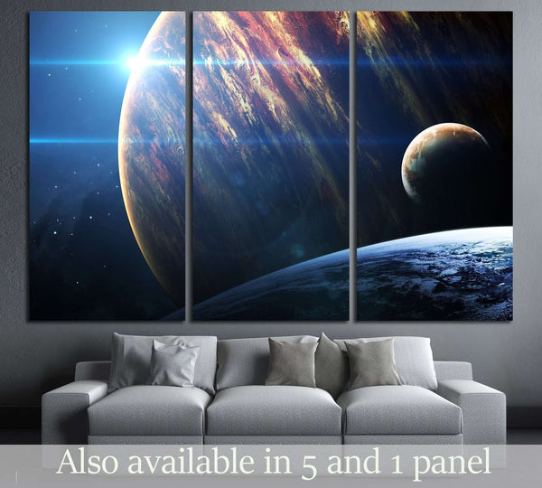 Universe scene with planets, stars and galaxies in outer space №2434 Ready to Hang Canvas Print