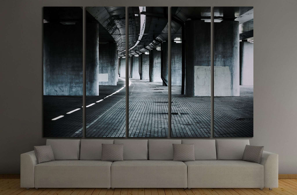 Urban background with big road bridge №1432 Ready to Hang Canvas Print