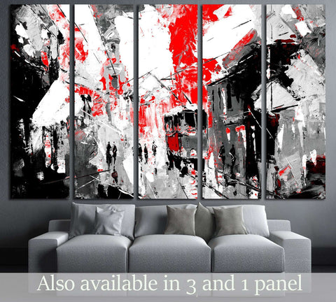 urban, city life, sin city inspiration - black and red color №3233 Ready to Hang Canvas Print