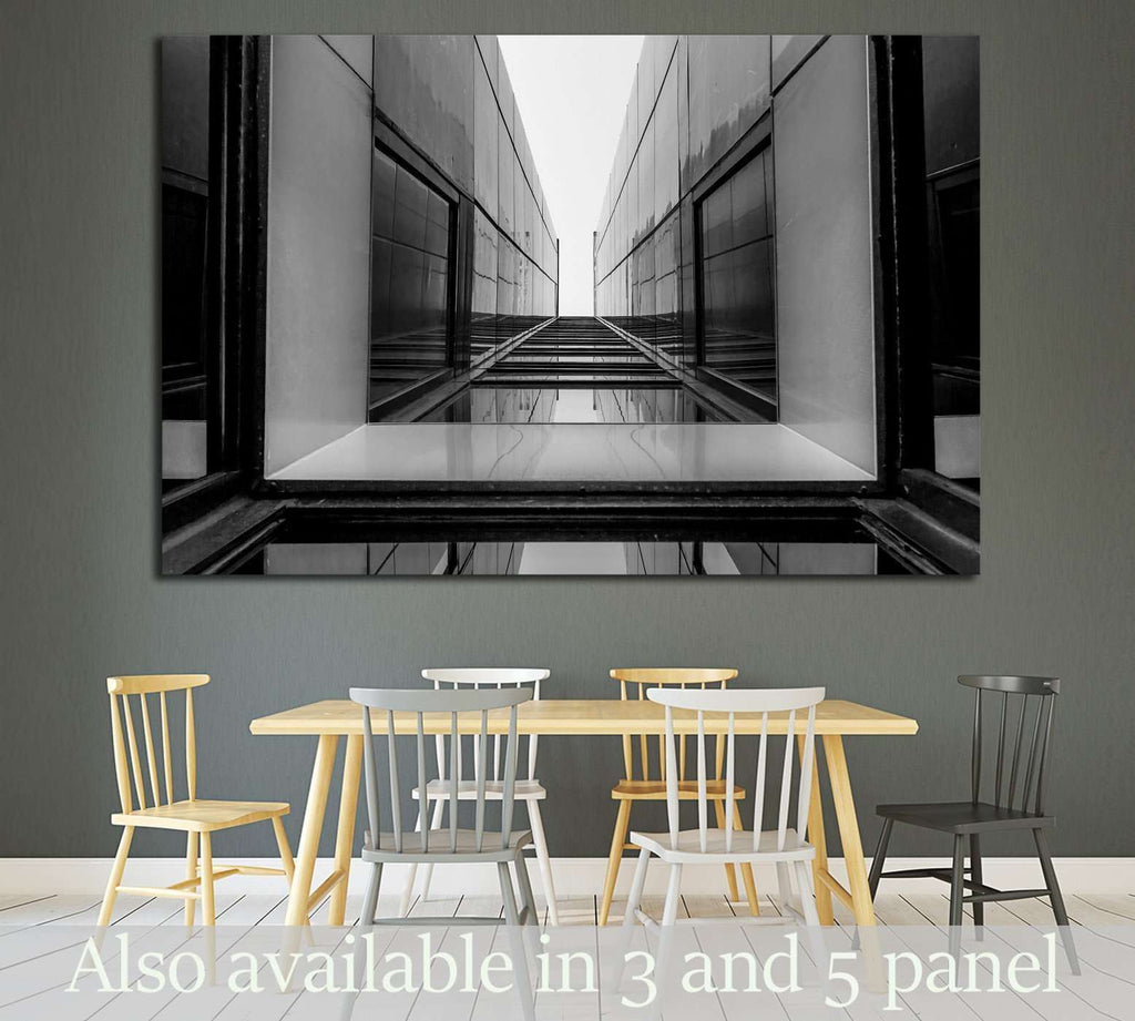 Urban Geometry, glass building, Black and white №1597 Ready to Hang Canvas Print