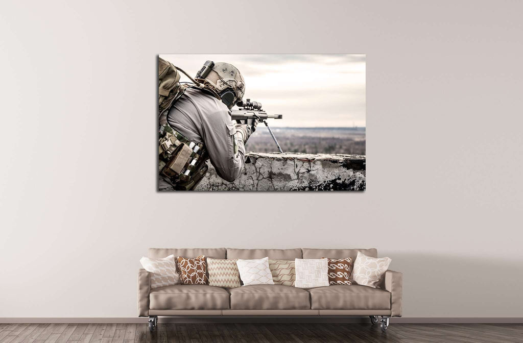 U.S. Army sniper №551 Ready to Hang Canvas Print
