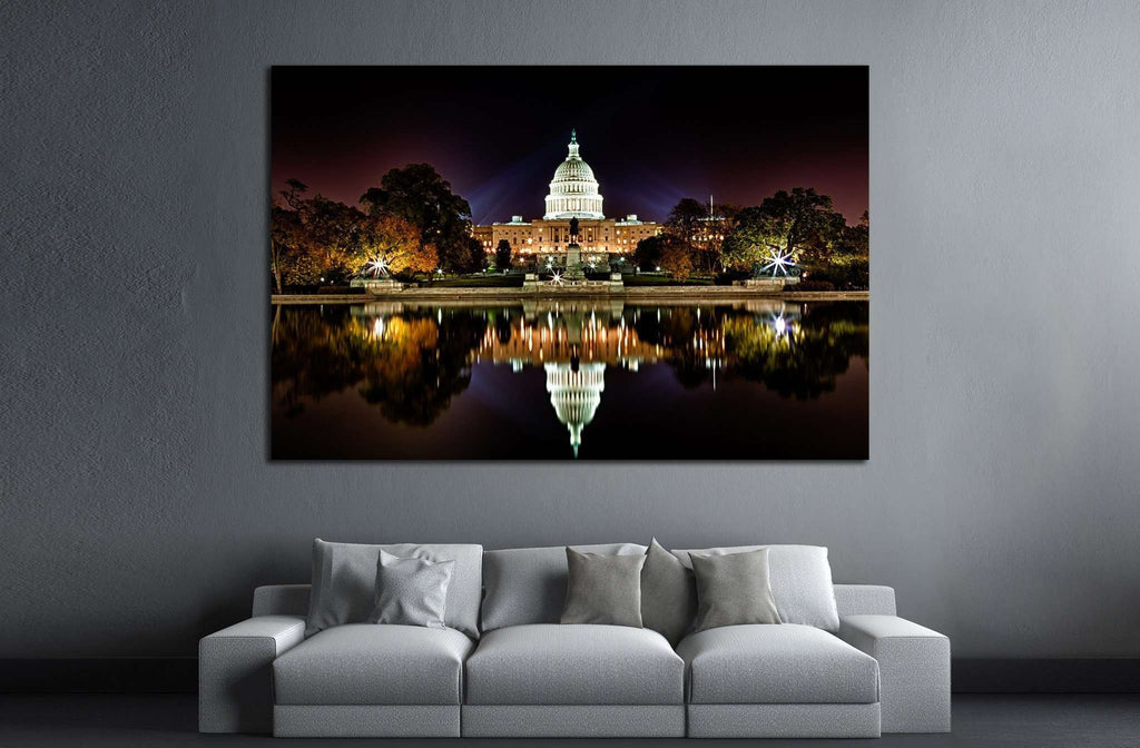 US Capitol Building and reflecting poll at night №1427 Ready to Hang Canvas Print