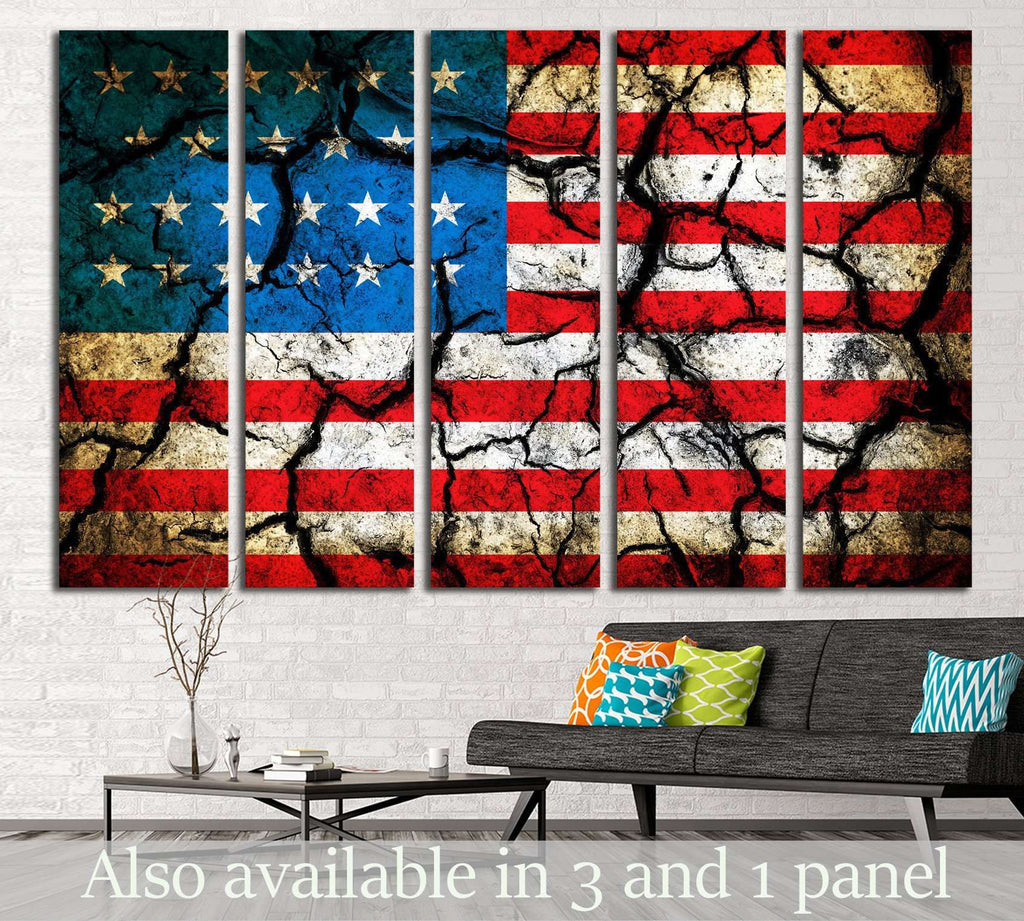 USA flag on cracked earth №1285 Ready to Hang Canvas Print