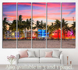 USA on Ocean Drive at sunset №1101 Ready to Hang Canvas Print
