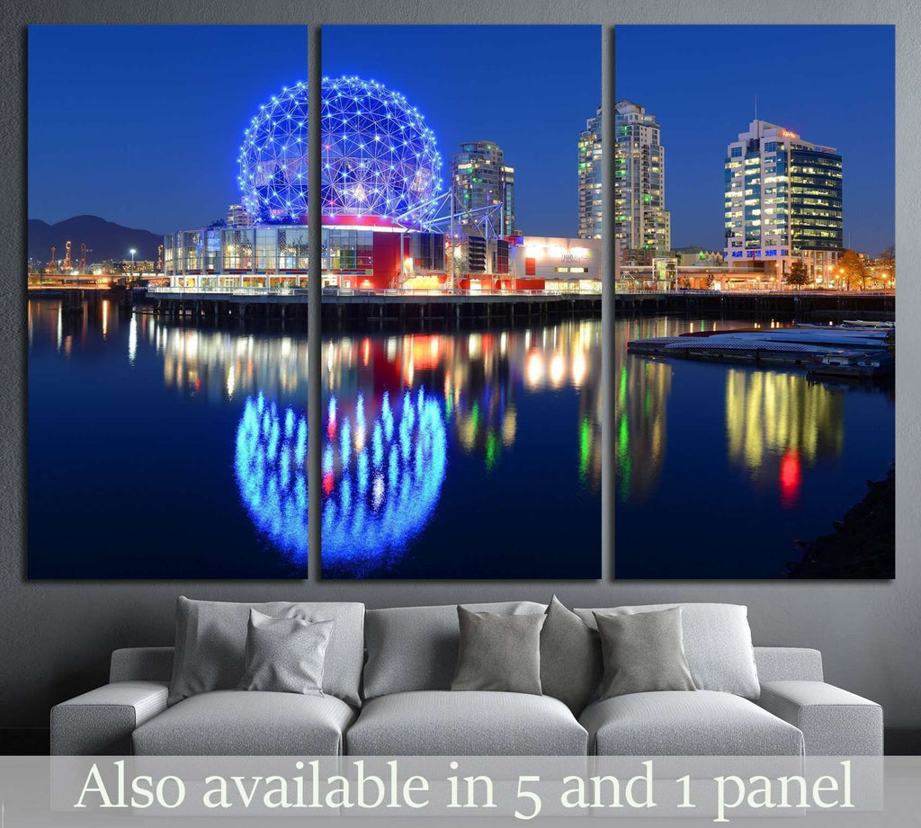 Vancouver at night, Vancouver, British Columbia, Canada №2173 Ready to Hang Canvas Print
