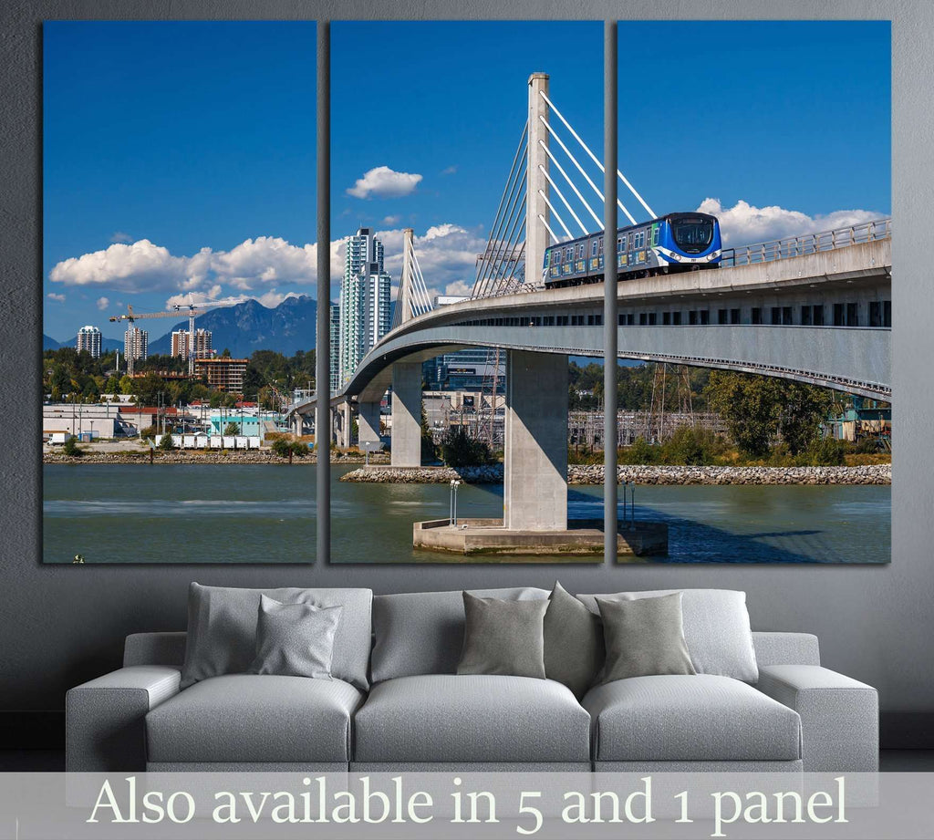 VANCOUVER, Canada Line train passes bridge №2316 Ready to Hang Canvas Print