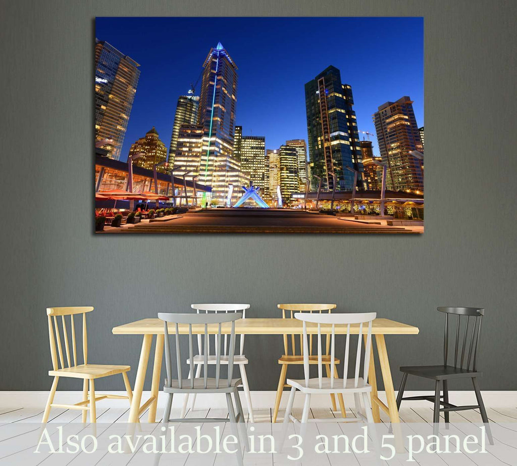 Vancouver city financial district at night, Vancouver, British Columbia, Canada №2049 Ready to Hang Canvas Print
