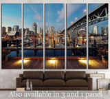 Vancouver False Creek at night with bridge and boat №2015 Ready to Hang Canvas Print