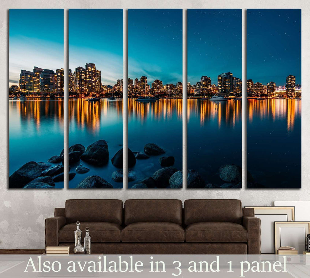 Vancouver skyline reflection at sunset №2023 Ready to Hang Canvas Print