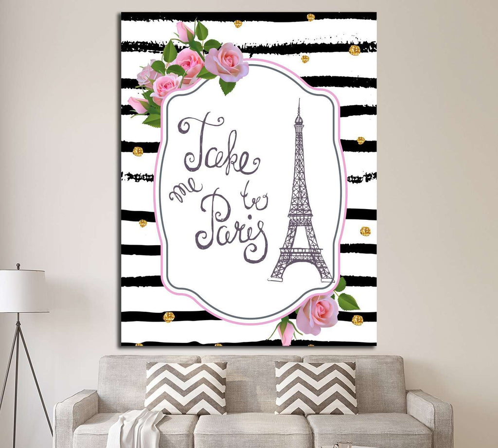 Vector romantic card template with pink roses, Eiffel tower №4599 Ready to Hang Canvas Print