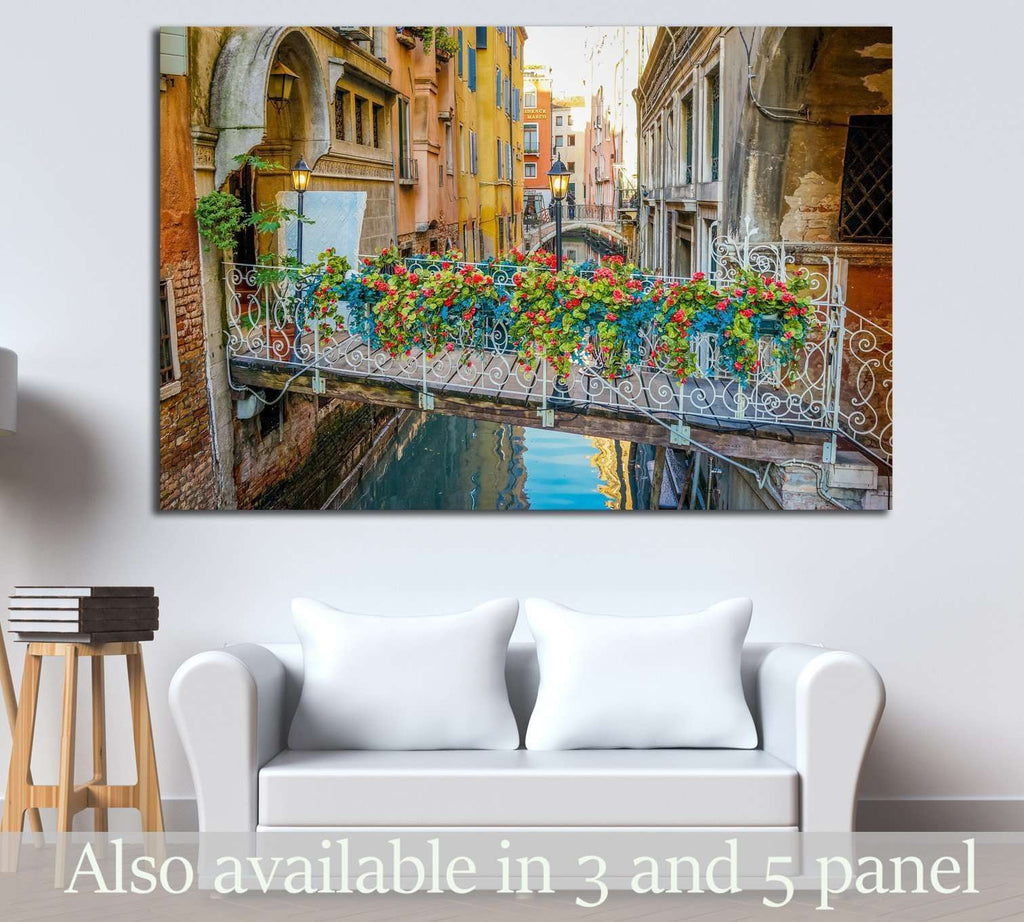 Venice, Italy, A bridge with Bouquet of Flowers №1543 Ready to Hang Canvas Print
