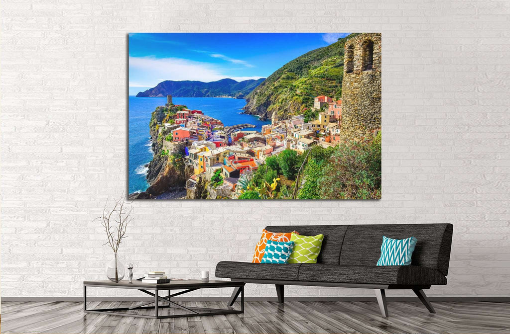 Vernazza and ocean coast in Cinque Terre, Italy №1133 Ready to Hang Canvas Print
