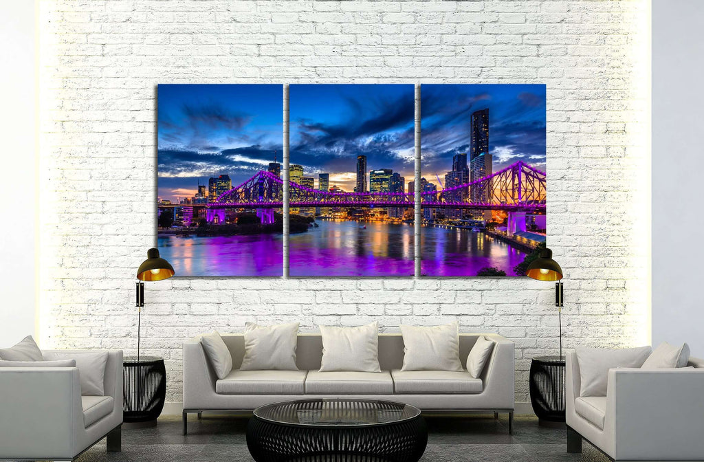 Vibrant night time panorama of Brisbane city with purple lights on Story Bridge, Australia №2391 Ready to Hang Canvas Print