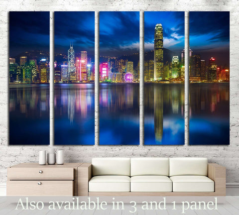 Victoria harbour skyline at night in Hong Kong №2318 Ready to Hang Canvas Print