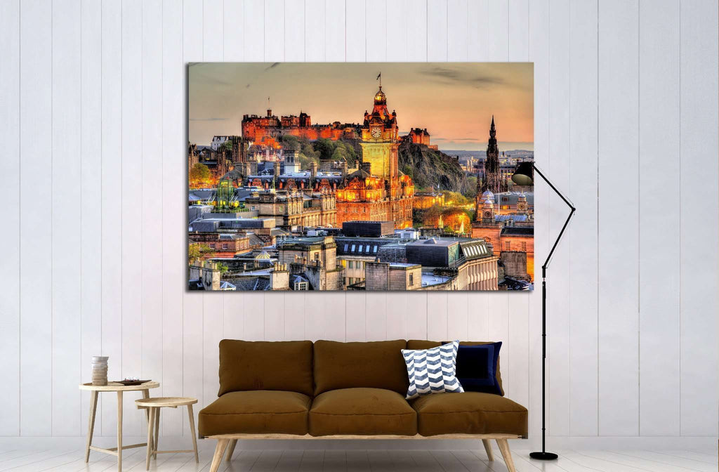 View from Calton Hill towards Edinburgh Castle - Scotland №1794 Ready to Hang Canvas Print