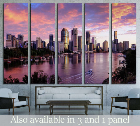 View of Brisbane City from Kangaroo Point cliffs №2329 Ready to Hang Canvas Print