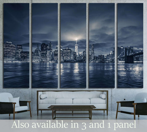 View of Manhattan at night, New York City №2997 Ready to Hang Canvas Print
