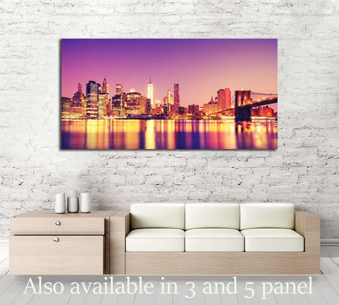 View of Manhattan at sunset, New York City №2709 Ready to Hang Canvas Print