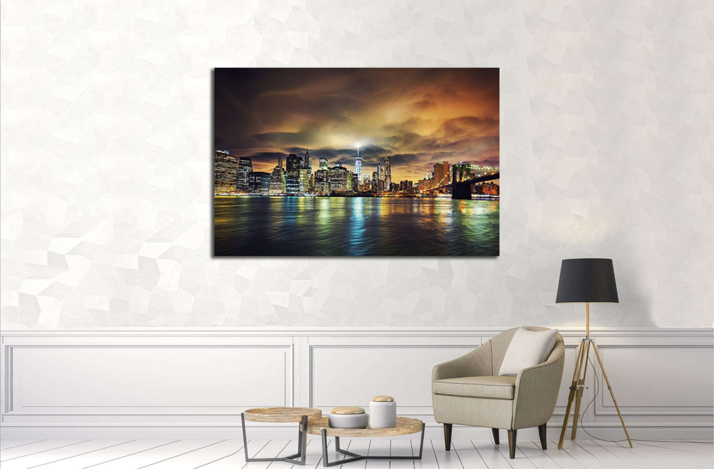 View of Manhattan at sunset, New York City №2993 Ready to Hang Canvas Print