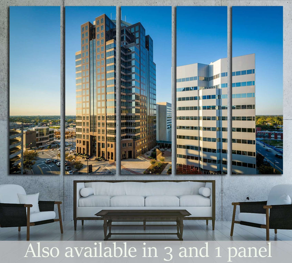 View of modern buildings in downtown Greensboro, North Carolina №1747 Ready to Hang Canvas Print