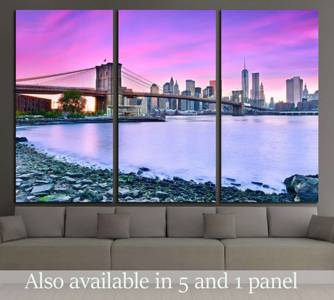 View of New York City at dusk №2987 Ready to Hang Canvas Print