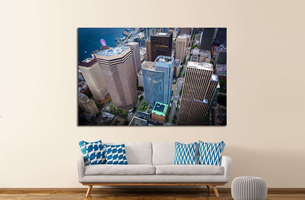 View of skyscrapers in downtown, in Seattle, Washington №1362 Ready to Hang Canvas Print