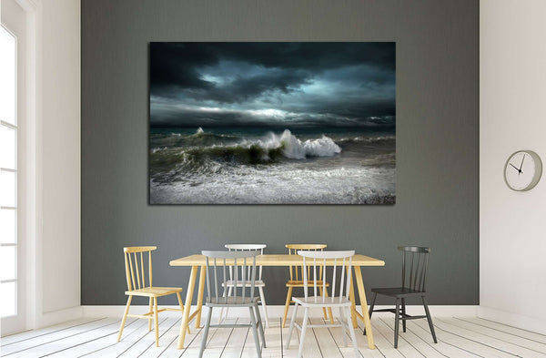 View of storm seascape №2864 Ready to Hang Canvas Print