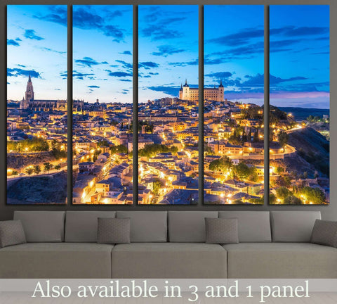 View of Toledo, Spain including Alcazar and the cathedral at dusk №1707 Ready to Hang Canvas Print
