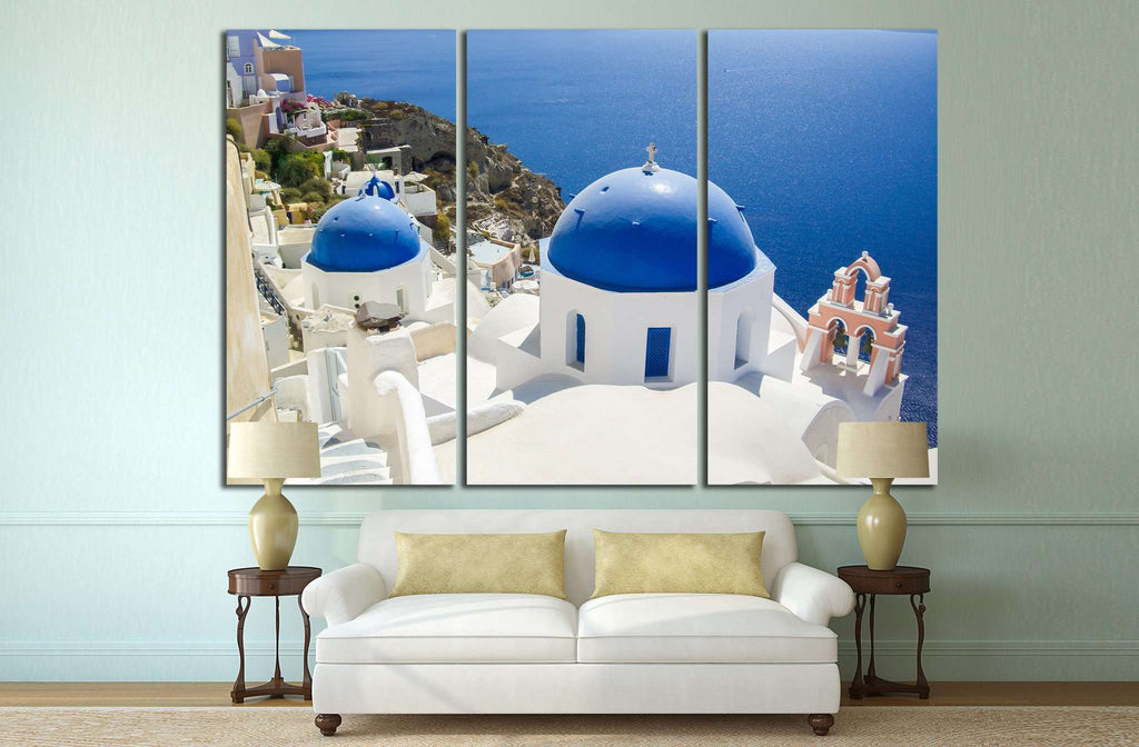 village of oia at santorini island, greece №1283 Ready to Hang Canvas Print
