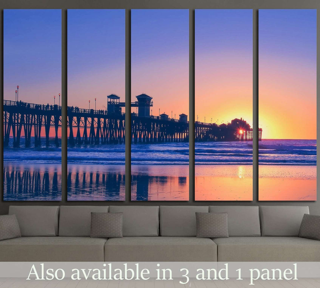 Vintage beach photo of pier at sunset in California №1777 Ready to Hang Canvas Print