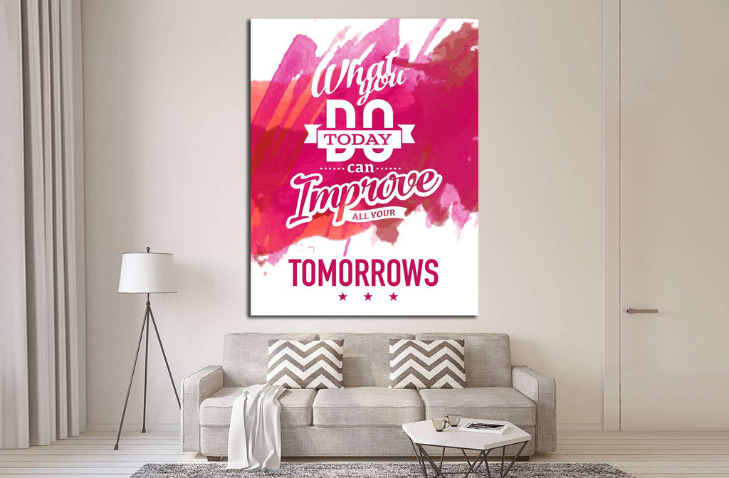 Vintage canvas with motivation quote on red pink abstract watercolor background №4559 Ready to Hang Canvas Print