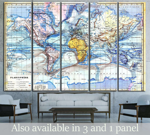 Vintage map from the late 19th century, Trousset encyclopedia №3222 Ready to Hang Canvas Print