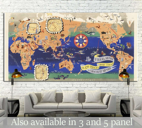Vintage Map of the World Chocolat Menier №1495 Ready to Hang Canvas Print