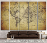 vintage map of the world №1324 Ready to Hang Canvas Print