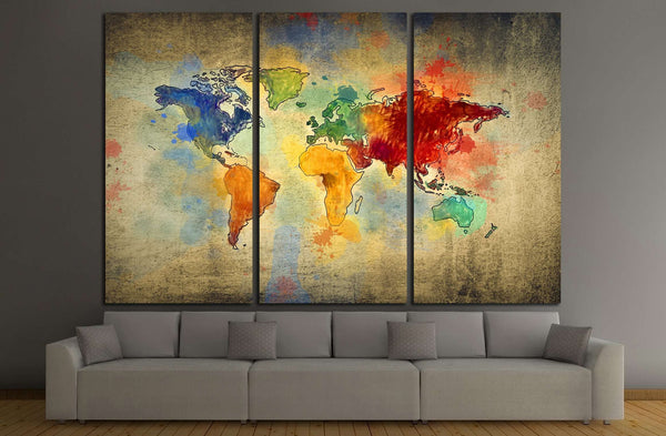 vintage world map №3221 Ready to Hang Canvas Print