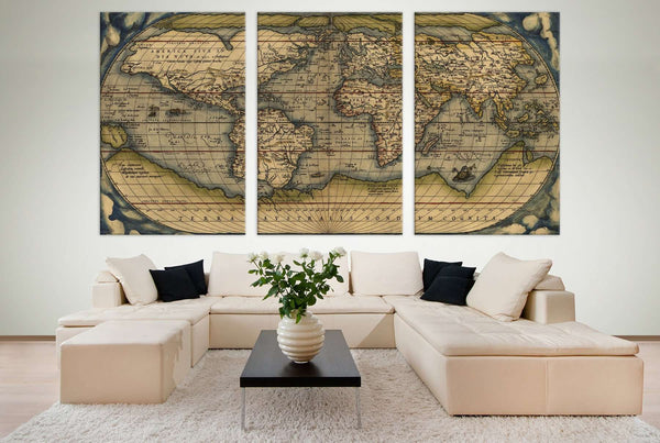 Vintage World Map №710 Ready to Hang Canvas Print