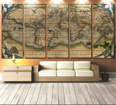 Vintage World Map №710 Framed Canvas Print