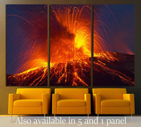 Volcano stromboli with spectacular eruptions №2923 Ready to Hang Canvas Print