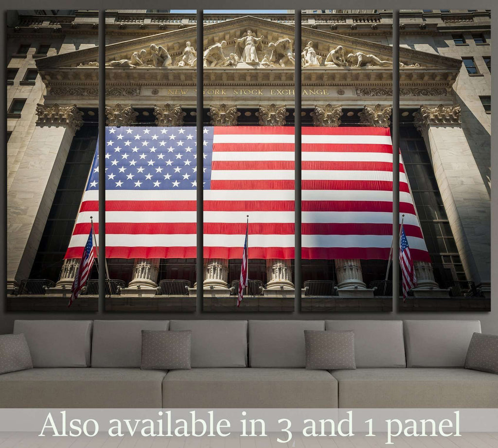 Wall Street New York Stock Exchange Entrance №1950 Ready to Hang Canvas Print