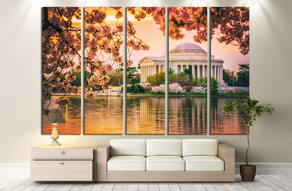 Washington, DC at the Jefferson Memorial during spring №2092 Ready to Hang Canvas Print