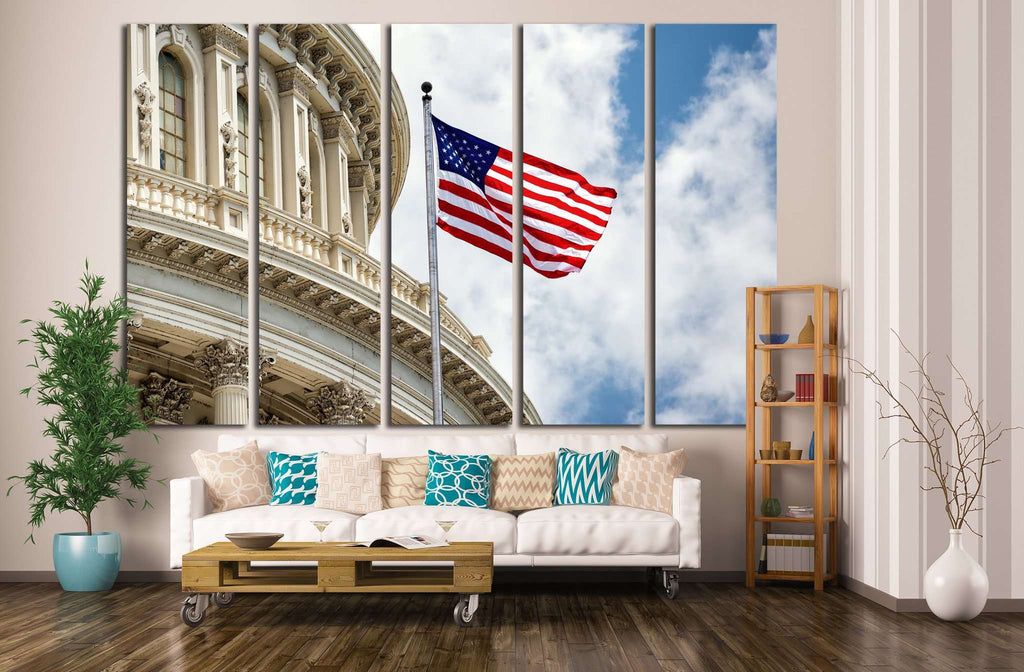 Washington DC Capitol with waving american flag №1289 Ready to Hang Canvas Print