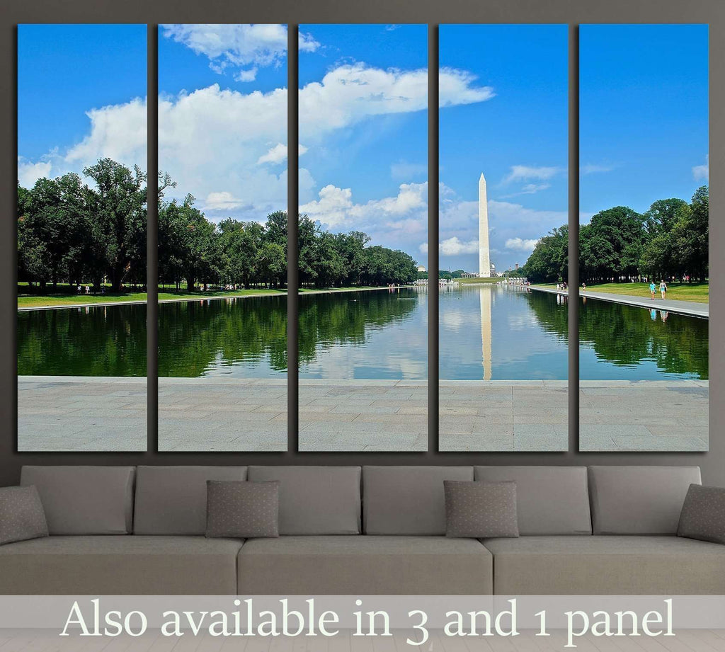 Washington memorial from the pool №2067 Ready to Hang Canvas Print