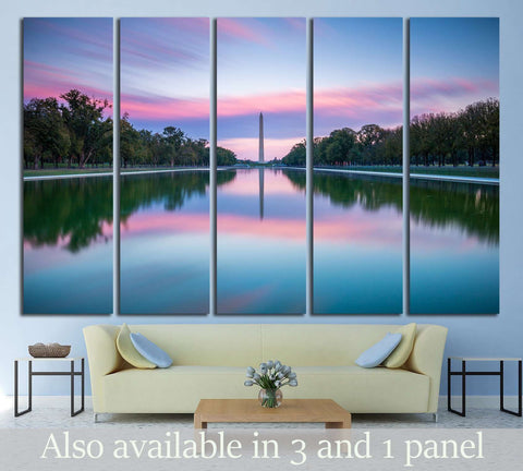 Washington Monument and Lincoln Memorial Reflecting Pool at sunset Washington, D.C. USA №2097 Ready to Hang Canvas Print